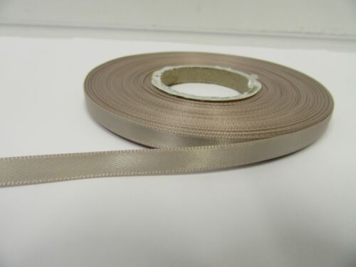 3mm 7mm 10mm 15mm 25mm 38mm 50mm TAUPE Satin Ribbon double sided roll