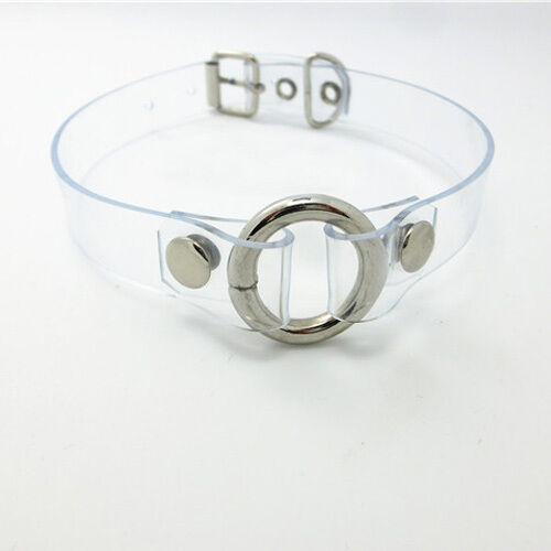 Sexy Lolita Handmade Punk Goth Clear Leather Metal O-Ring Choker Collar Necklace