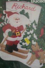 Bucilla Gallery Stitches Skiing Santa Felt Applique XMAS Stocking Kit 33701 VTG