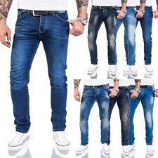 Herren Jeans Hose Slim Fit Rock Creek Designer Basic Jeans Stretch Hose Blau M21