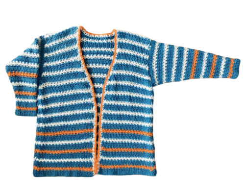 Sheer Keyhole Hippie Vtg 1980\u2019s Crochet Knit Top Striped 70\u2019s Style Retro