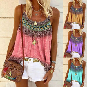 Summer-Strappy-Womens-Tank-Shirt-Tee-BOHO-Ladies-Vest-Blouse-Casual-Holiday-Tops