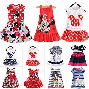 enfants-bebe-fille-Minnie-Mouse-Robe-soiree-debardeur-ete-jupe-de-soleil-1-7-An