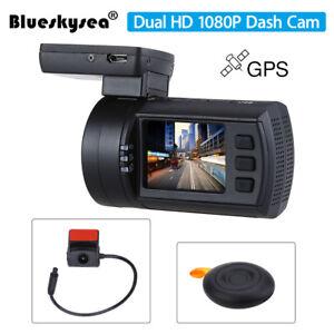 Blueskysea Mini 0906 Dual 1080P Lens Car Dash Camera GPS DVR Cam Remote Control