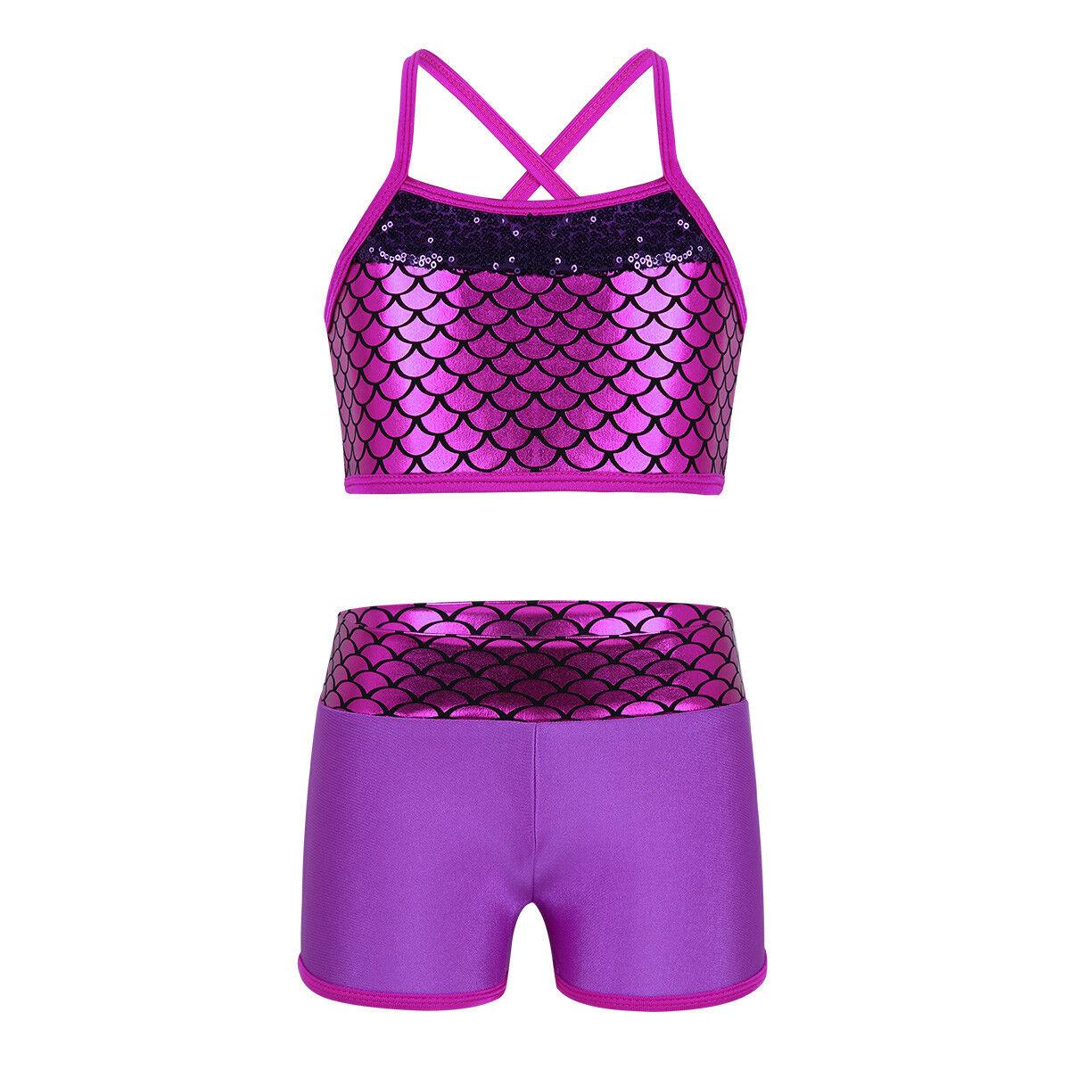 Girls Kids Sport Dance Outfit Crop Tops Shorts Gymnastics Leotards Dancewear
