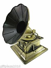 15cms MINI MODEL GRAMOPHONE - METALLIC MINIATURE VERSION - HOME/OFFICE DECOR