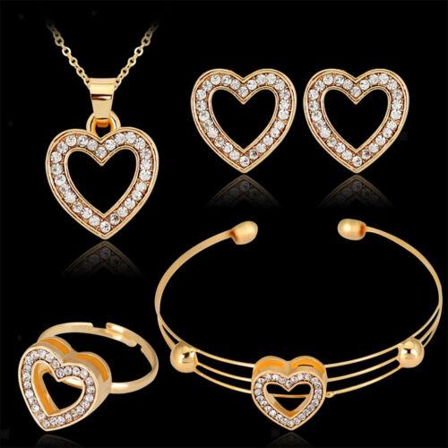 Strass Gold Hear Design Halskette Ring Ohrstecker Armband Schmuck Set