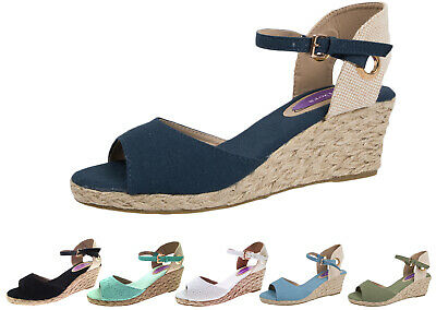 Womens Strappy Hessian Wedge Sandals