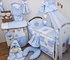 Babybett Mit 10 Tlg Komplett Set Bettwasche Matratze Nestchen Himmel