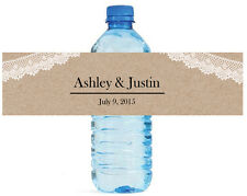 100 Kraft paper and lace Wedding Anniversary Engagement Party Water Bottle Label