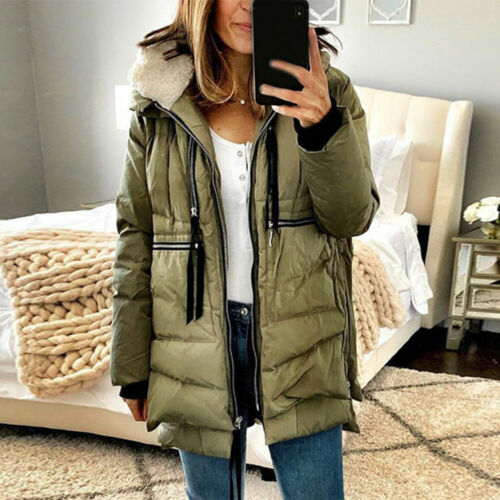 Womens Quilted Winter Coat Ladies Fleece Lined Parka Thick Hooded Jacket Outwear