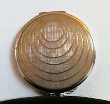 Volupte Powder Compact Gold Ring Design Lid Clear Mirror Unused Puff Signed NOS