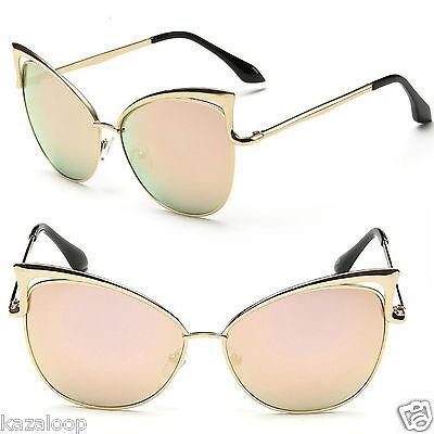 New Womens Metal Frame Cat eye Oversized sunglasses