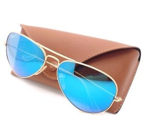 1abdd49e82 Ray Ban RB 3025 112 4L Matte Gold Blue Mirror Polarized Authentic ...