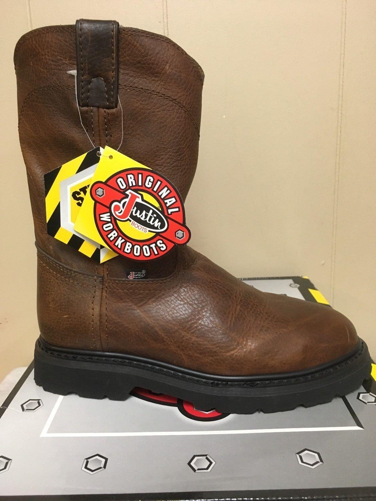 Mens 10  Justin Puntera De Acero botas De Trabajo-Descatalogados estilo  WK4906 - leer descripción