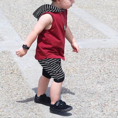 Kinder Baby Jungen Outfit Set Kleidung Ärmellos T-shirt Vest Top Kurze Hosen