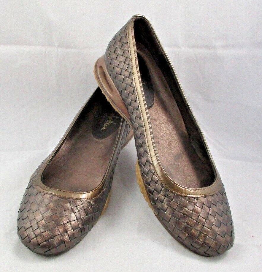Femmes Cole Haan Bronze Cuir Tissage Air Bria Ballet Taille 7-1 2 Med New