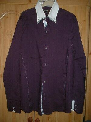 Da Uomo Taglia Xl Slim Fit Shirt Viola Manica Lunga-mostra Il Titolo Originale