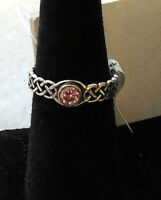 Sterling Silver Braided Band Pink Ice