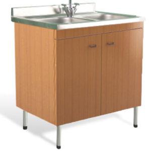 Mobile cucina color teak lavello acciaio inox 80x50 cm lavello doppia vasca ebay - Mobile lavello cucina acciaio ...