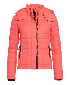 Quilt Jacket Superdry Fuji Rosso shocking Womens Box New Hooded q4xvwAA
