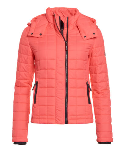 NUOVA linea donna Superdry Hooded BOX Quilt Giacca Fuji Rosso Shocking