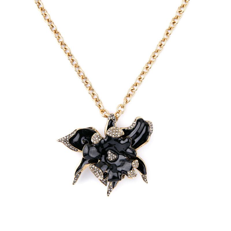 Exquiste Anthropologie Mila Black Enamel Popup Flower Necklace