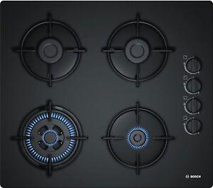 Bosch Piano Cottura a Gas Nero 60cm Autark Glas 4 Fiamme Fornello ...