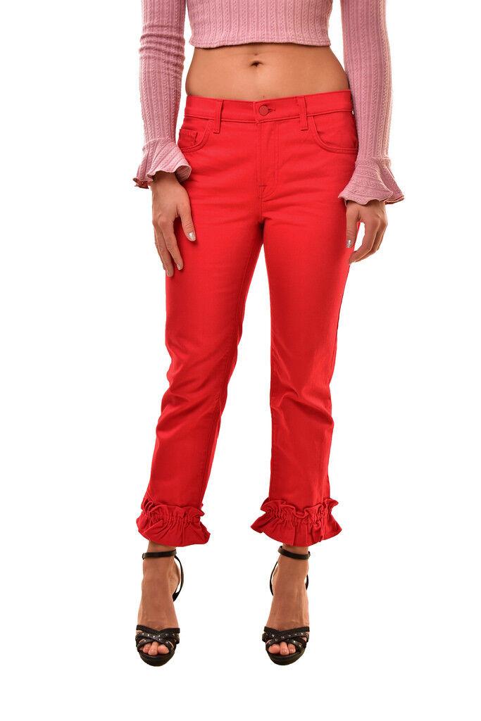 J BRAND Women's Simone Rocha SE9020T142 Ruffle Jeans Red Size 26 RRP  308 BCF811