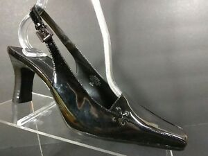 0263d672656 Details about Bandolino Women s Black Buckle Slingback Kitten Heels Shoes  Size 6.5 M