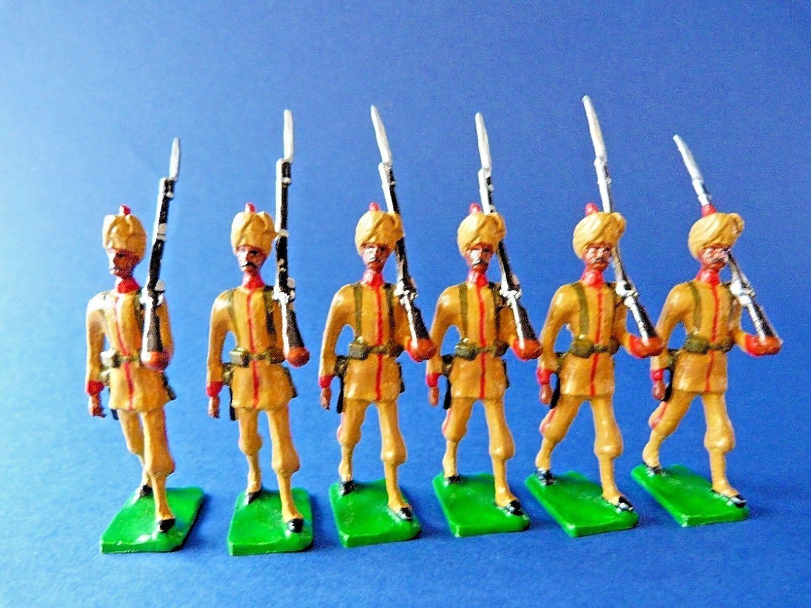 6 soldats soldats soldats de plomb de l'armée des Indes au défilé - A identifier - Lead soldiers f3119f