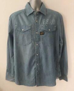 G-Star-Raw-Arizona-Preston-Shirt-Gr-XL-Blau-Denim-Baumwolle-Casual-Maenner-L-S