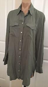 NWT-COTTON-ON-Women-039-s-OVERSIZED-Button-Down-SHIRT-DRESS-Olive-Green-sz-XS-S-M