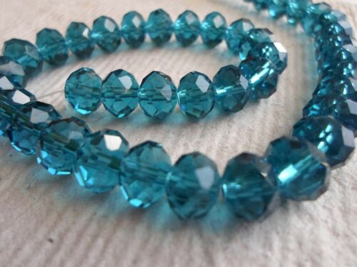 Pack of 70 Faceted Glass Roundel Beads ~ 10mm Dark Teal
