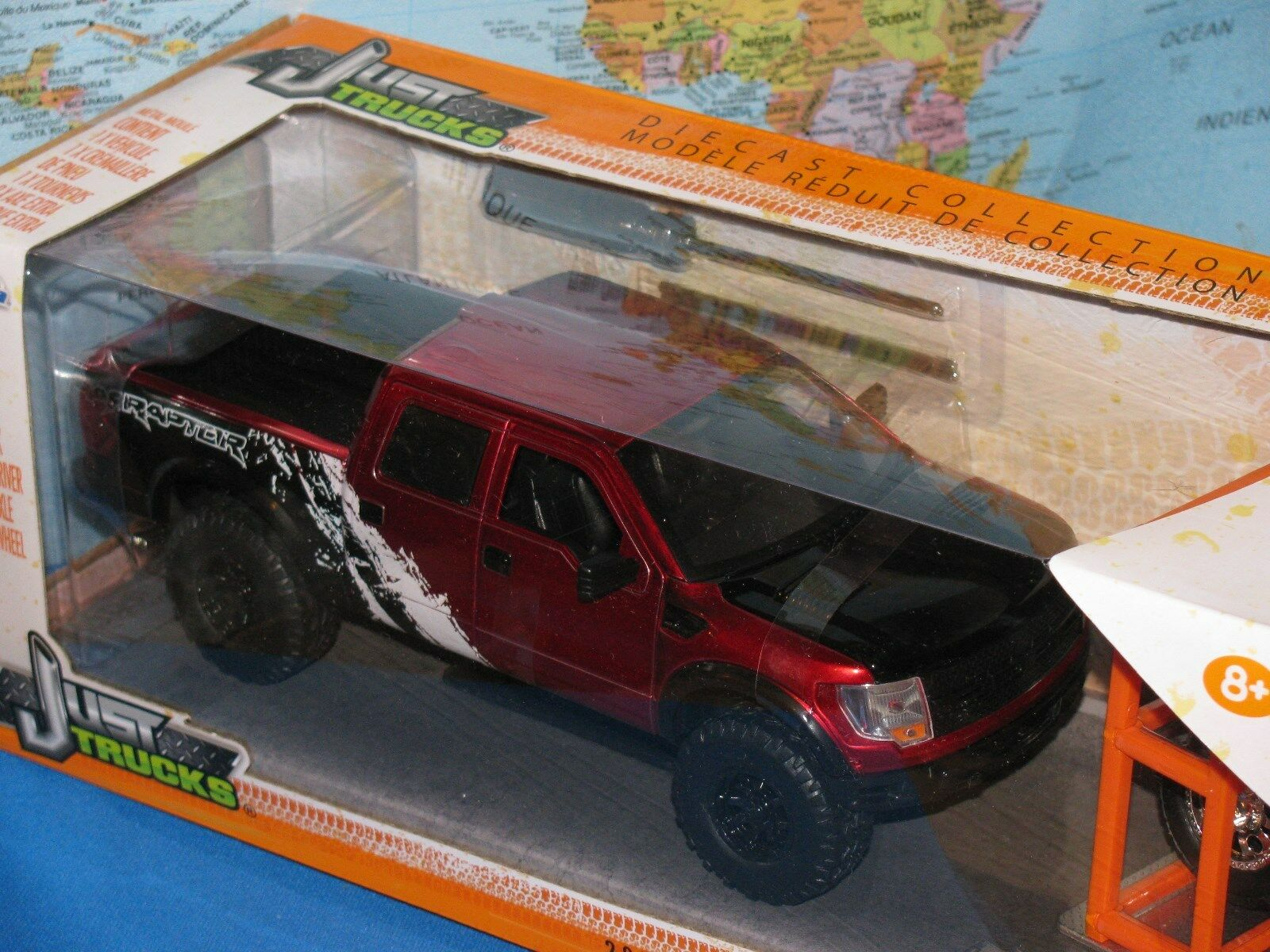 1 24 Jada Just Camion 2011 Ford F-150 Svt Raptor red 4 x extra Ruota Die Cast