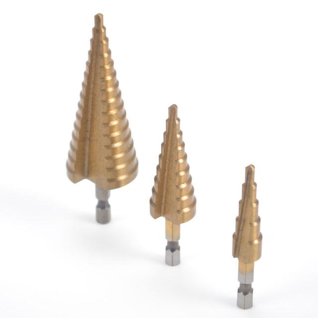 3Pcs HSS Steel Step Cone Gold Drill Titanium Coated Wood Hole Cutter Bit Set