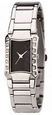 LADIES MORGAN DE TOI WATCH BLACK DIAL STAINLESS STEEL BRACELET DIAMANTE STONES