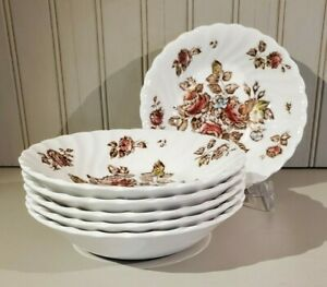 Johnson Brother Devon Sprays small berry bowls, set of six (6), brown floral