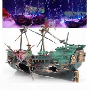 Fish & Aquariums Large Aquarium Ornament Wreck Sunk Ship Plastic Boat Air Split Shipwreck Fish Pet Supplies