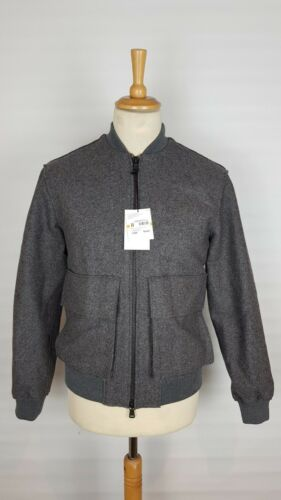 Grey Mens Heather Bomber Q330 £420 Jacket Rrp Oversized Smoke Small Wool Dkny EqwqaXHtBW
