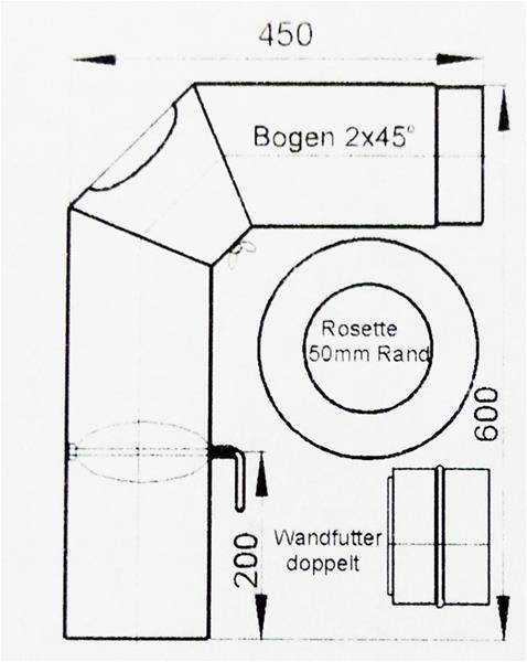 Horno de tubo humos tubo set 2 Ø 150 mm gris sueldan y verschliffen
