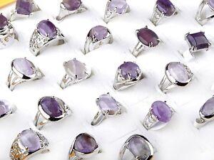 10Pcs-Wholesale-Lots-Unisex-Amethyst-Gemstone-Stone-Silver-Plated-Rings-17-20mm
