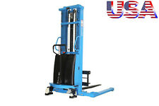 Eoslift Semi Electric Straddle Pallet Stacker Lift 3300lb Adjustable Width Fork