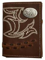 3d Western Mens Wallet Leather Trifold Stitch Concho Distressed Brown W266