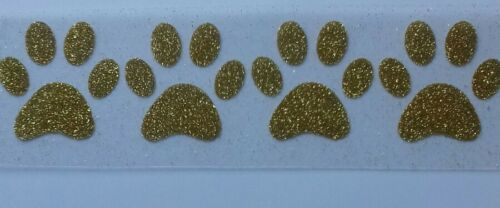 4 Glitter dog paw hotfix iron on transfers size 5cm x 5cm in 17 colours