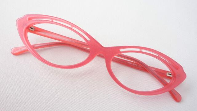 Katzenauge Damen Brille Fassung PINK schrill auffallend Plastik Pin Up Grösse M
