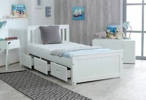 White Single Bed Storage Wooden Bed With Drawers Pine