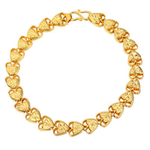 18K plaqué or cœur chaîne bracelets plaqué platine Valentine Bijoux Cadeaux