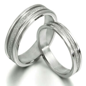 image is loading titanium ring set eternity pair his her wedding - His And Her Wedding Rings