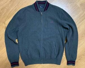 Fred Perry Mens Heavy Cotton Full Zip Sweater Cardigan Size L